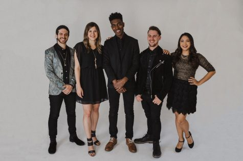 Members of the a capella group Backtrack (left to right): Johnny Buffalo (beatbox), Mallory Moser (soprano), Jojo Otseidu (bass), Mike Hinkle (tenor), Melissa Jordano (alto)