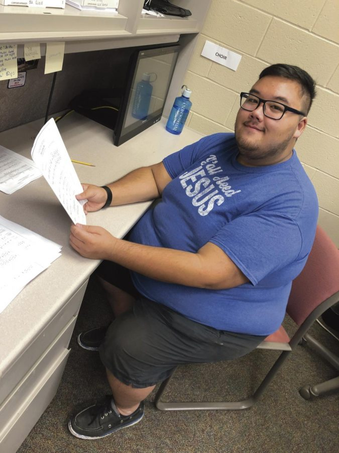 Brandon Visetchaisri, 19, is reviewing the song 'A Days Gone By' to further his understanding in music education.