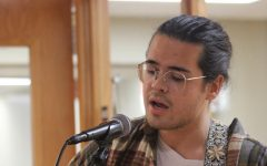 Chris Brown, a secondary education major performed an original song titled You Will. This is his second Open Mic. He has been writing his own songs since high school. He has only recently gained enough confidence to share his music with others.