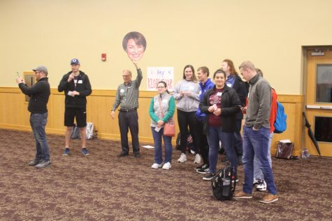 Joe Wert, IUS professor of political science, tries to rally support for Amy Klobuchar. Klobuchar would go on to finish with the third most voters in the IUS Mock Caucus, which awarded her one delegate.