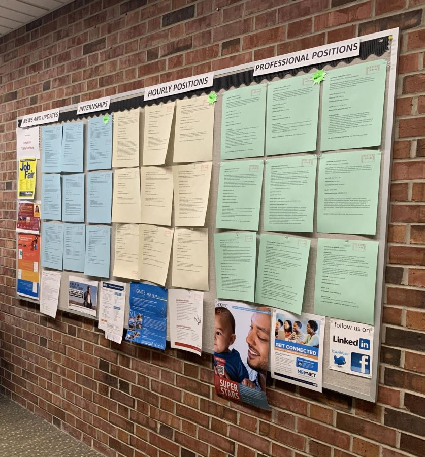 The job board, located in University Center South, has a variety of job postings available for both students and alumni.