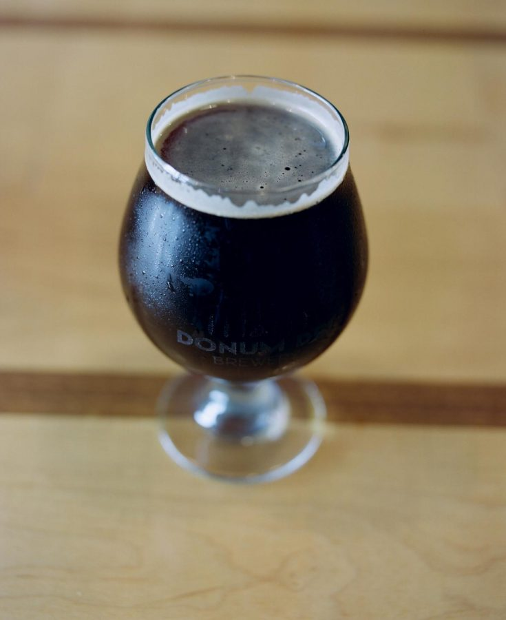 A coffee stout beer brewed in New Albany at Donum Dei Brewery and Distillery.