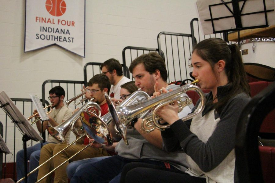 Six Southeast Sound brass players perform during the IUS men's basketball regular season finale against Kokomo on Feb. 18. The Grenadiers won the game 77-67.