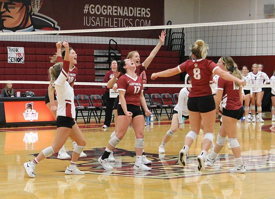 Members of the Grenadier Volleyball team celebrating moments after defeating RSC rival IU Kokomo in their home finale on Nov. 2, 2019. Photo provided by the Unofficial IUS Women's Volleyball Facebook page.
