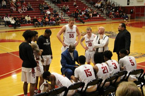 Head Coach Wiley Brown uses a timeout to strategize with his players during a home game against IU Kokomo on Feb. 18, 2020.