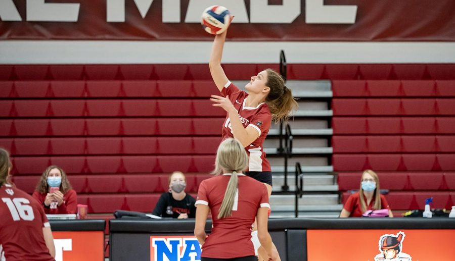 Freshman Outside Hitter Hannah Miller goes for a kill against IU Kokomo. The Bloomington South High School product had seven kills in the Grenadiers' loss against the Red Wolves.
