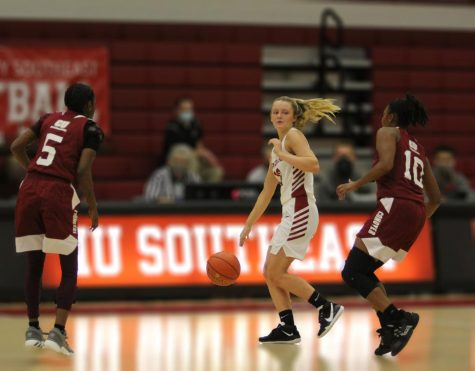 Junior guard Lauren Lambdin draws a double team of Campbellsville - Harrodsburg