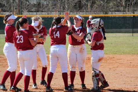 From left to right; Ellie Jackman, Madeline Probus (23), Lindsey Nelson, Brooklyn Gibbs (14), Kelsey Warman, and Reecie Gilliam all share a conversation in the pitcher