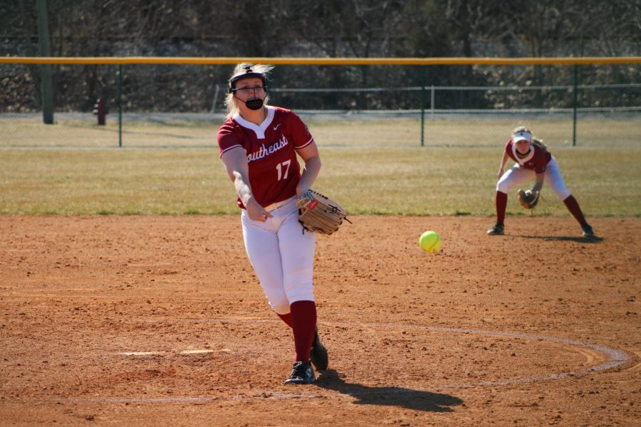 Grenadier+pitcher+Hannah+Ogg+fires+a+strike+in+game+one+of+a+doubleheader+against+%235+Marian+University+on+March+3.+Ogg+appeared+in+both+contests%2C+pitching+10+innings+while+allowing+three+runs+on+eight+hits.