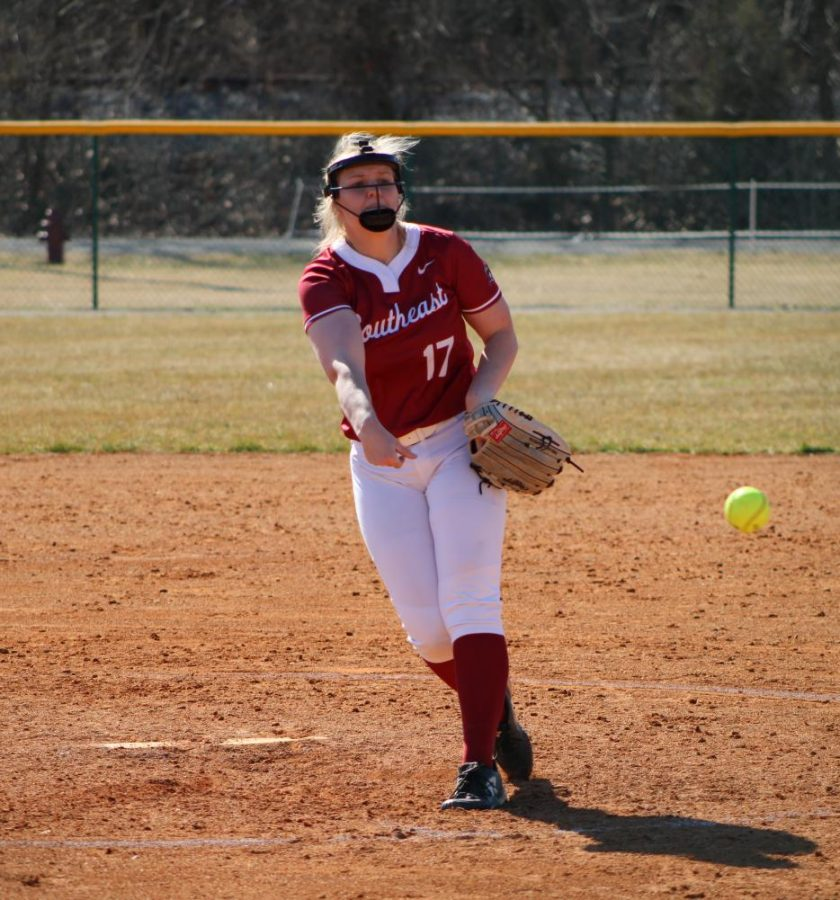 Grenadier pitcher Hannah Ogg fires a strike in game one of a doubleheader against #5 Marian University on March 3. Ogg appeared in both contests, pitching 10 innings while allowing three runs on eight hits.