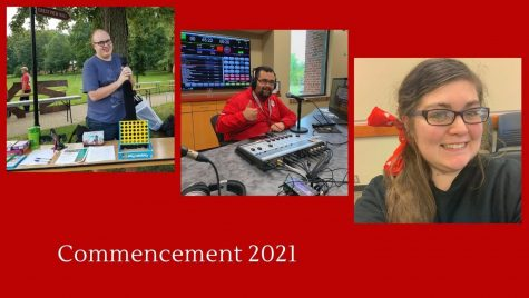 Pictured from left to right: Senior History major Devin Burten, Horizon Radio alumnus Matthew McClellan, and graduate student and IUS alumna Taylor Lowe. Photos provided by Rena Andrews, Matthew McClellan, and Taylor Lowe. Graphic design by Garland Noel.