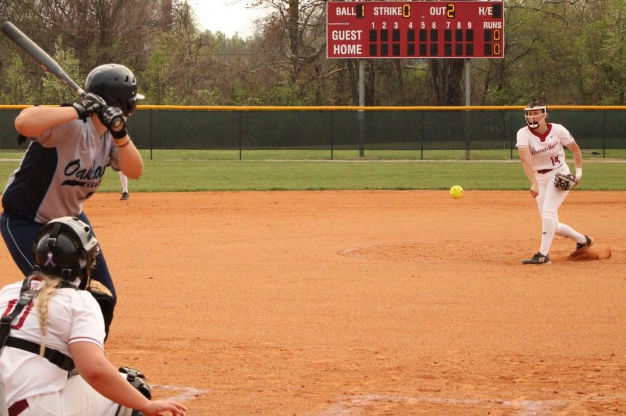 Freshman right-hander Brooklyn Gibbs fires a fastball to Oakland City's McKendree Ward, resulting in a groundout to second base to end the first inning of the nightcap of a doubleheader on April 6. The start for Gibbs was her first since March 3 against #5 Marian after recovering from a torn UCL in her left thumb.