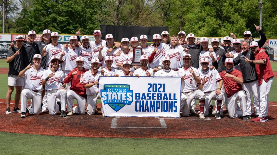 The IU Southeast Baseball team poses with the River States Conference championship banner after defeating Point Park by scores of 3-1 and 8-2 to win their first RSC Tournament Title since 2011. The Grenadiers swept both the conferences regular-season and tournament titles, as well as post a conference record of 31-2 between the regular season and postseason.