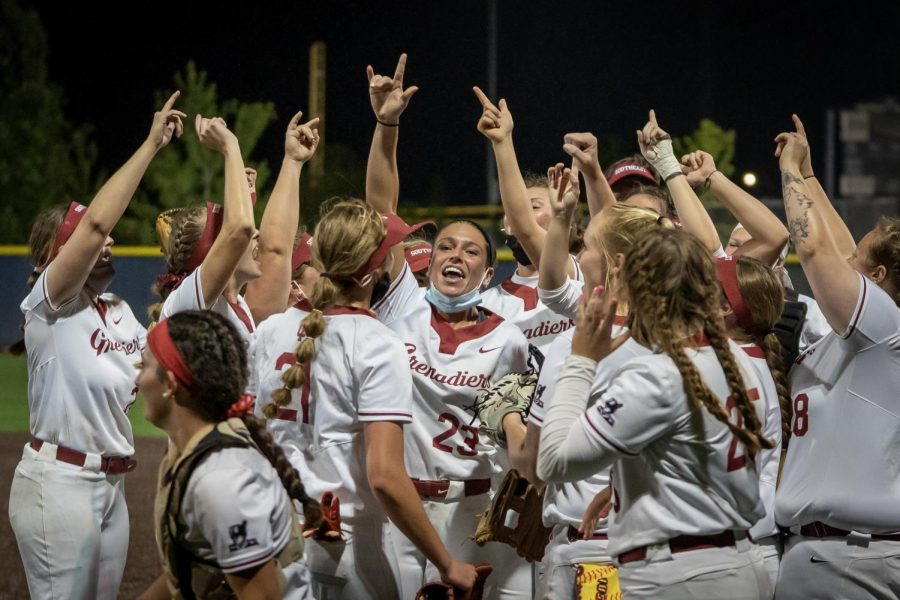 The+IU+Southeast+Softball+team+huddles+up+after+defeating+%239+Marian+4-0.+The+Grenadiers+defeated+two+top+10+teams+in+the+NAIA+Opening+Round%2C+their+second+coming+on+a+1-0+walk-off+victory+against+%237+Columbia+College.
